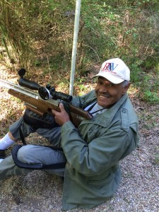 Field Target Legend Roz Sumpter enjoying his time on the course.