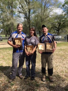 The Pyramyd Air FT Team members and their awards.  Harold (L) took home 2nd place in WFTF PCP.  Dottie Slade (C) won High Lady. Tyler Patner (R) took 2nd in Open Pistol and 3rd in WFTF PCP.