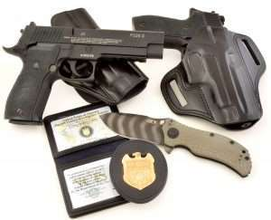 Although NCIS agents generally carry the compact Sig Sauer P228 (Navy SEAL units carry the P226), the holsters pictured from Galco, the Commissioned Credentials NCIS badge and creds, and Zero Tolerance (Gibbs tiger stripe ZT301 knife), set the stage for Sig Sauer's role in the world's number one television drama and the most accurately detailed .177 caliber version of the famed P226.