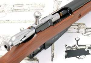 The action uses a nearly perfect copy of the Mosin-Nagant design with its 90-degree bolt handle.
