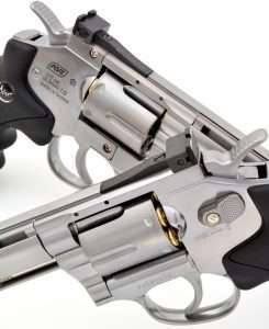All of the Dan Wesson models have individual serial numbers like a cartridge gun. The cylinder latch also functions as a safety by moving it to the rear.
