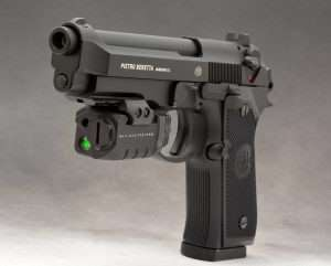 The 92A1 has a dustcover Picatinny rail and can be equipped with a light or laser. (Crimson Trace Rail Master Pro shown)