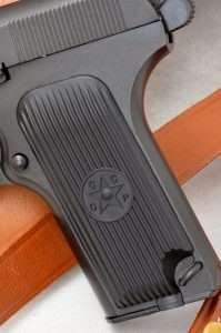 Original style TT-33 grips are reproduced for the Gletcher with circle surrounding a star with the letters CCCP. The lanyard loop is another accurate feature of the original gun.