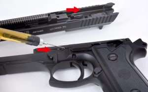 For blowback action air pistols that disassemble like their cartridge-firing counterparts, (such as the Beretta Model 92FS and 92A1), very light, and occasional lubrication of the rail surfaces (on an airgun) where slide and frame align, helps reduce wear just as it does when field stripping and cleaning cartridge-firing semi-autos.