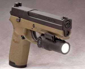 For firearms training or just more accurate airgun shooting, the P250 ASP Picatinny rail is long enough to fit most tactical lights and lasers. (Fox Fury AWL-P Amphibious Weapon Light shown)