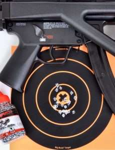 At 10 meters, the best 10 shots fired offhand hit inside the 10 ring and X measuring 1.75 inches. All 20 shots on this target hit within 2.5 inches.
