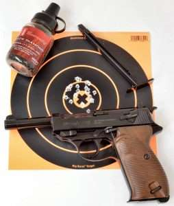 At 7-yards (21 feet) the Umarex Walther P.38 shot to point of aim and delivered a best five round group measuring 0.75 inches in the X.