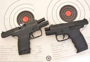 The PPS 9mm had a best five rounds measuring 1.20 inches (with three overlapping) while the .177 caliber air pistol clustered five steel BBs at 1.22 inches.