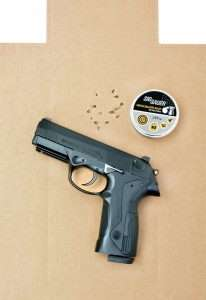 All 16 shots on this IPSC target are in the A Zone with a best 5 rounds measuring 1.12 inches.