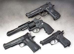 Four excellent examples of Umarex CO2 pistols that can be used to train for their cartridge-firing counterparts, the latest Beretta 92 A1 (top), S&W TRR8 (center), Colt Commander (bottom left) and Beretta 84 FS.