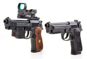 The top guns in Beretta's air pistol line are the 92FS pellet gun (left, shown with full optics and laser accessories), and the brand new Model 92A1 blowback action BB pistol.