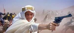 In 1962's academy award winning epic Lawrence of Arabia, T.E. Lawrence; as portrayed by Peter O'Toole, used a Webley Mk VI.