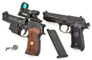 Two Berettas, two choices, one fires .177 caliber steel BBs, the other 4.5mm lead or alloy pellets. One wiht a combined CO2 and BB drop free magazine, the other with an 8-shot rotary cast alloy magazine loaded at the breech.