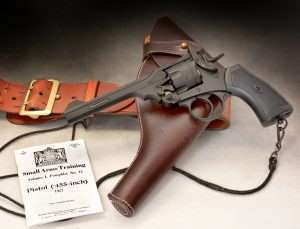 The Webley & Scott Mk VI airgun is a nearly exact duplicate of the original 1915 model. Webley used the original blueprints in designing the .177 caliber airgun. (shown with an original lanyard and reproduction Webley holtser)