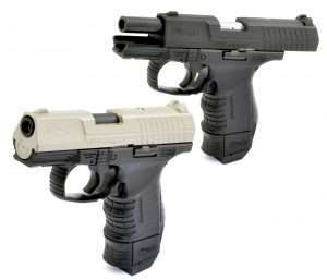 Blowback action gives the Walther CP99 Compact air pistols a realistic shooting experience. The airguns require racking the slide to cock the action and chamber the first BB.