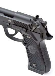 Like the 9mm models, the new Beretta 92 A1 only fires double action for the first shot, after which it operates as a single action pistol. It can also be de-cocked by setting the safety, which lowers the hammer, disconnects the trigger, and resets the gun to fire double action when the ambidextrous thumb safety is up moved to the FIRE position (red dot exposed).