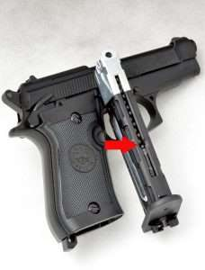 The Beretta's CO2 and BB magazine is one of the easiest to load with a follower that locks down (and stays put until you release it) and a loading port (arrow) that makes it possible to almost pour all 17 BBs into the magazine.