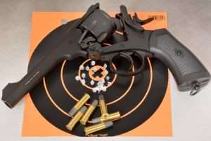 The best six shot group fired single action using a two-handed hold measured 0.625 inches at a range of 21 feet.