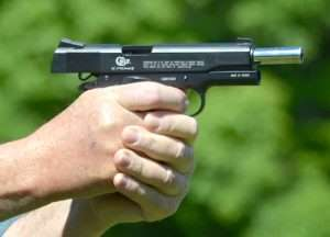 The Umarex Colt Commander blowback action air pistol is another excellent training gun for learning trigger control with 1911-style models. Trigger pull on the Umarex averages 3 pounds, 4.7 ounces. A 1911 trigger pull averages 5 pounds, 8 ounces. A tuned 1911 trigger will be closer to the Umarex.