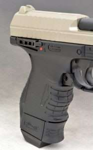 The air pistol differs from the 9mm and .40 S&W CP99 Compacts in several ways but the most notable is the addition of a manual safety on the right side of the frame. Shown in the FIRE position, to set the safety and simultaneously de-cock the action, you push the lever down.