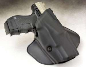 The CP99 Compact is so accurate in size that it fits in the same holster as a 9mm or .40 S&W P99. This holster used for the evaluation was a Safariland ALS paddle holster. The hex head screw on the front of the holster is used to adjust pistol retention.