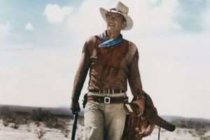 Hondo was one of the first films to be released in 3D, literally making John Wayne larger than life on the silver screen. This was also the first use of the holster and cartridge belt that would become his signature gun rig.