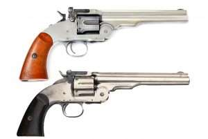 The proof of a good job in creating an artificially antiqued western gun is to compare your work with an original gun. The c.1877 Civilian model Schofield at bottom was the pattern for the faux color cased and blued finishes on the airgun's barrel lock, stud latch, hammer, trigger and the ejector lever beneath the frame. It is a lot of work, but the end product is something that only you and you alone can have.