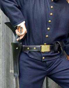 Still using the same tactics as the Civil War era Cavalry, soldiers wore their guns on the right hip, holstered butt forward, and thus requiring a reverse draw. This was slower (unless you were Wild Bill Hickok), than a conventional strong side holster.