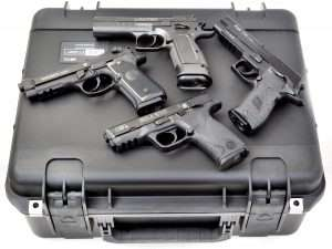 The CaseCruzer is grab-and-go for storage and for the shooting range. The shockproof hard-shell exterior will easily stand up to forcible impact or vibration. This model holds four guns and accessories. Pictured are the Tanfoglio Limited (top) Sig Sauer P226 X-Five (right), Umarex S&W M&P40 (bottom) and Umarex Beretta M92 A1.