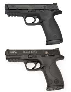 The S&W M&P40 with ambidextrous thumb safeties (top) and the airgun version below are virtually identical with the exception of the white highlighted M&P40 and S&W logos on the Umarex model.