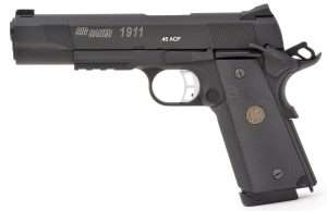 The .177 caliber pistol has nearly exact exterior dimensions, comes in at 10 ounces lighter than the Sig 1911 TacOps, at 33 ounces (empty).