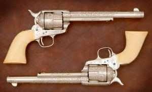 The 1876 Centennial Exposition Colts were, at the time, the most highly engraved Colt Single Action Army Revolvers ever done. The Centennial engraving is attributed to Cuno A. Helfricht and his shop at Colt's.
