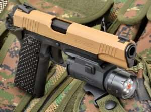 The Walther Night Force rail mounted tactical light uses six white LED lights surrounding a central Class IIIA red laser.