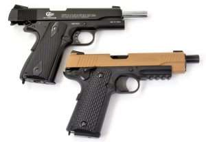 The Umarex Colt Commander (top) is a more accurate copy of the Colt Model 1911A1 model than the Umarex M45 CQBP. Note the CQBP has a slightly flared barrel. The slide on the CQBP does not travel all the way back like the Colt Commander's, but still locks back on an empty magazine.
