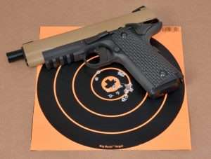 Best group with the Umarex M45 CQBP measured 1.25 inches. Target has a total of 19 shots fired offhand from 21 feet.
