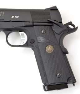 The Sig looks more like the actual .45 Auto version with elongated thumb safety.