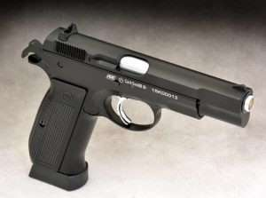 A nearly perfect copy of the 9mm CZ-75, the ASG CZ-75 air pistol is marked in European caliber 4.5mm. While 4.5mm is often associated with pellet-firing air pistols, it is the same caliber as .177 which is generally used for BB-firing air pistols; the two are interchangeable. The ASG CZ-75 combines the designs of the standard CZ-75 model with the extended capacity magazine base plate used on the CZ-75 SP-01 tactical model.