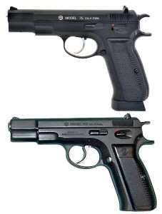 Following the lines of the original CZ-75 (bottom) the air pistol uses the rounded triggerguard, long spur hammer, and single thumb safety. The air pistol uses the slightly deeper extended capacity SP-01-style magazine, with a deeper base plate than the regular CZ-75's.