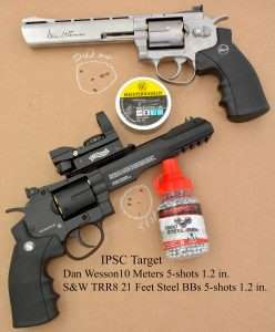 Best 5-shot groups with the ASG Dan Wesson 4.5mm pellet model and Umarex S&W 327 TRR8 measured 1.2 inches, fired off hand from 33 feet (10 meters) and 21 feet, respectively.
