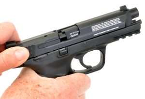 …the Umarex M&P40 operates exactly the way with the barrel breechblock tilting down as the slide retracts.