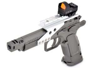 With blowback action air pistols that have cartridge-firing counterparts, most of the accessories will work on the .177 caliber models, including optics like this C-More STS red dot competition sight. While the C-More sight can cost up to $400, roughly four times as much as the Tanfoglio air pistol, it can be switched between guns and it built to handle the recoil of large caliber pistols.