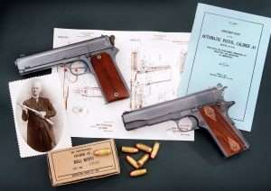 "Changes in design from the Model 1905 (left) to the Model 1911 include the hammer, grip angle, barrel mounting system, thumb and grip safeties and magazine release. John M. Browning patent for the Model 1911 dated February 14, 1911. The final design was approved for issue to the U.S. military on March 29, 1911 and officially named ""U.S. Pistol, Automatic, Calibre .45, Model 1911."" The pistols were issued to the U.S. Army, Navy, Marine Corps, and federal agencies and remained in continual use until the improved Model 1911A1 was introduced in 1924."