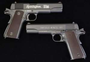 "In terms of clean lines and a minimum of ""art"" the Tanfoglio Witness is a little cleaner gun. The Remington brand name looks good but is on the wrong side of the slide. The side you see most (unless you're a southpaw), is covered in manufacturer's info and standard air pistol warnings. The safety also has big white S and F letters and an arrow pointing up and down."
