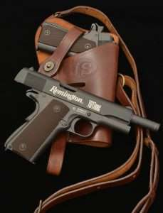 The Remington airguns are in perfect scale to an original 1911A1 model and fit all original and reproduction 1911 holsters, including this copy of the U.S. J T & L 43 M7 shoulder holster. (Holster courtesy World War Supply)