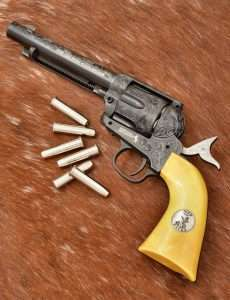The revolver comes with six of the silver Umarex Colt 4.5mm pellet cartridges.