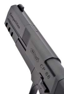 The CP88 uses standard front blade sight.