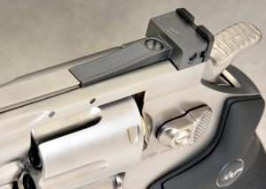 The pistol has a fully adjustable rear sight with click stops for elevation and windage.