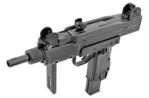 the Israeli Uzi. Built as a carbine and in several pistol configurations, it has become one of the most legendary late 20th century designs, and the select fire .177 caliber Mini Uzi pistol is by far the best choice in a modern CO2-powered medium frame semi-auto/full auto design.