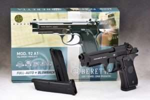 And the winner is the new Umarex Beretta 92 A1 blowback action selective fire pistol. Based on the current 92 A1 model, the .177 caliber airgun uses self contained CO2 BB magazines.