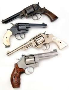 A sweep through double action history from the c.1858 Starr carried by Union Soldiers during the Civil War, to the famous .45 Colt Model 1878 double action single action, the S&W Triple Lock with swing out cylinder, and a modern S&E Performance Center 8-shot .357 Magnum (the basis for the 327 TRR8).
